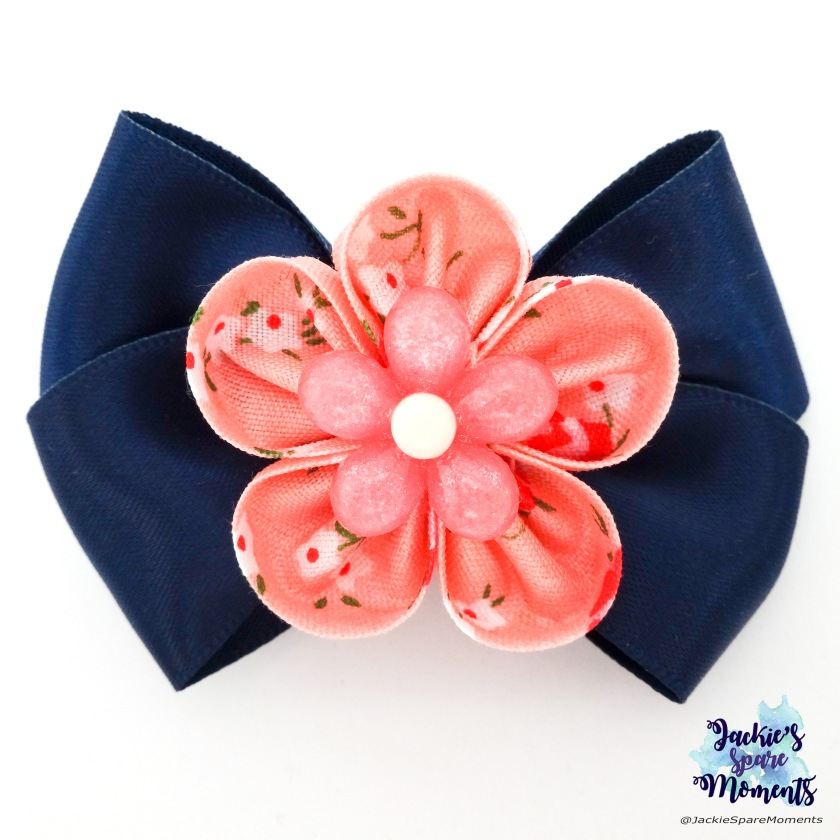 Blue and coral floral hair bow