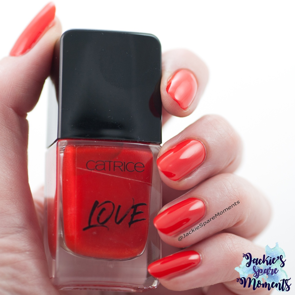 Nail polish swatch of Catrice ICONails Make Your Polish A Priority as Pantone Fiesta