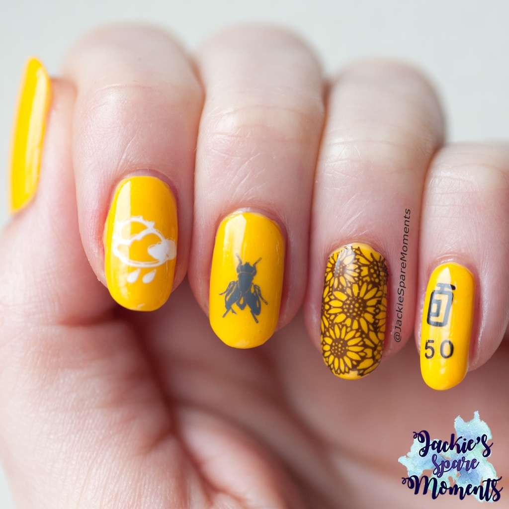 Yellow base with nail art in summer theme, Summer Friends n Foes
