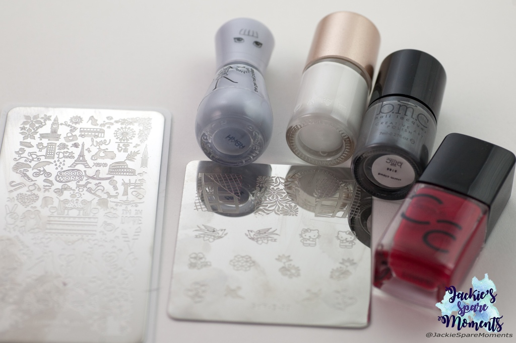 Materials used: essence the gel polish 115 rockablue, white stamping polish, grey stamping polish, Catrice ICONails 02 Bloody Mary to Go, stamping plates Infinity Nails 173 and SdP-33 by Dashica Beauty Shop