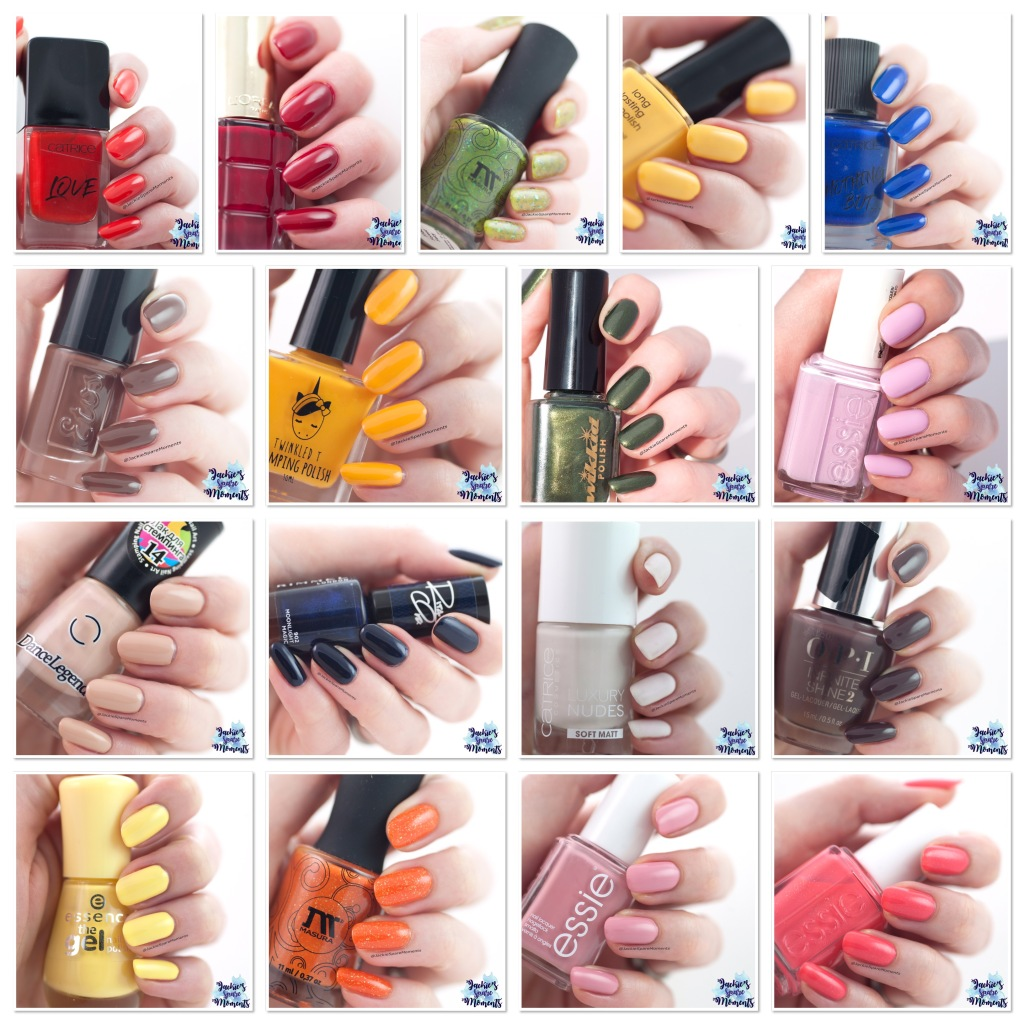 Collage of the nail polish swatches for Pantone spring summer 2019