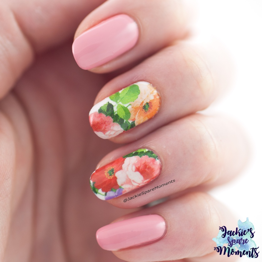 Floral Mother's Day nails with water decals.