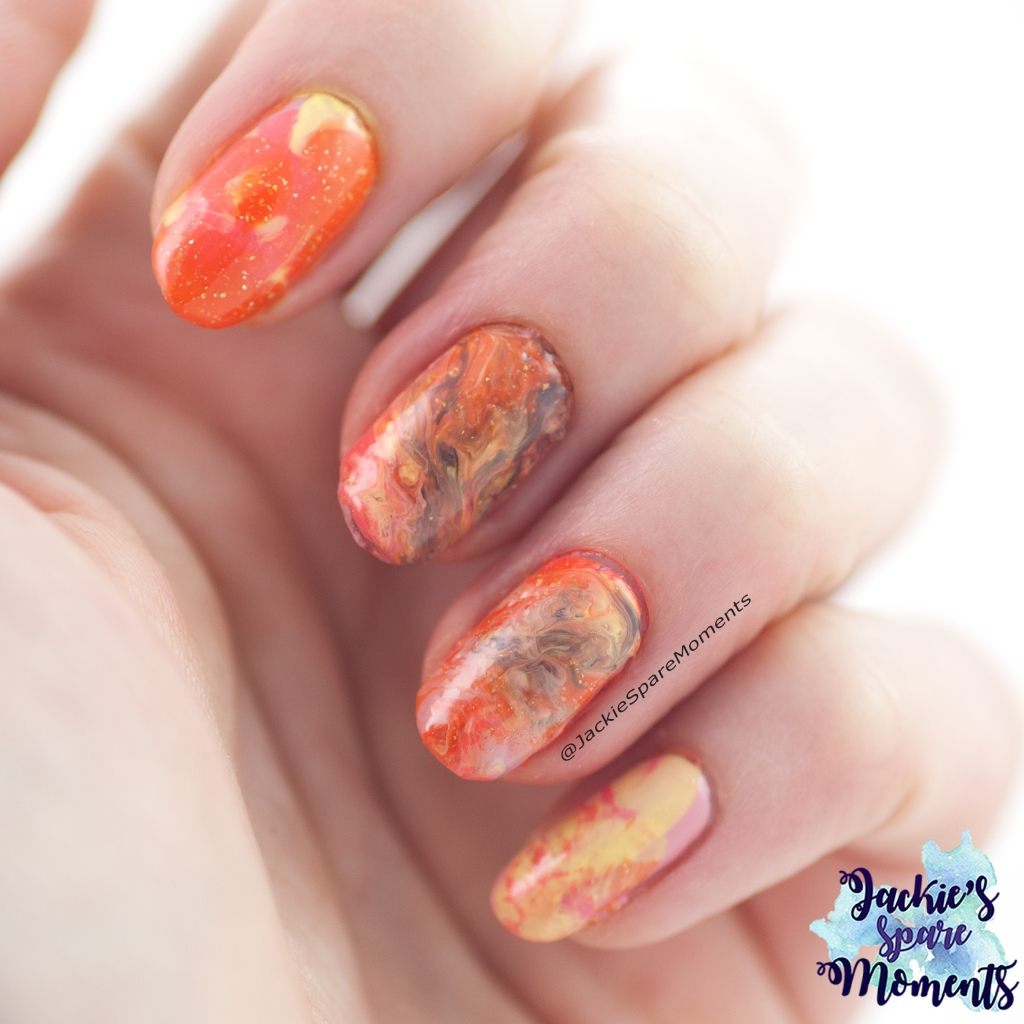 Nail art with Pantone Turmeric, Pantone Lemon Verbena, Pantone Brown Granite, Pantone Pressed Rose and Pantone Living Coral.