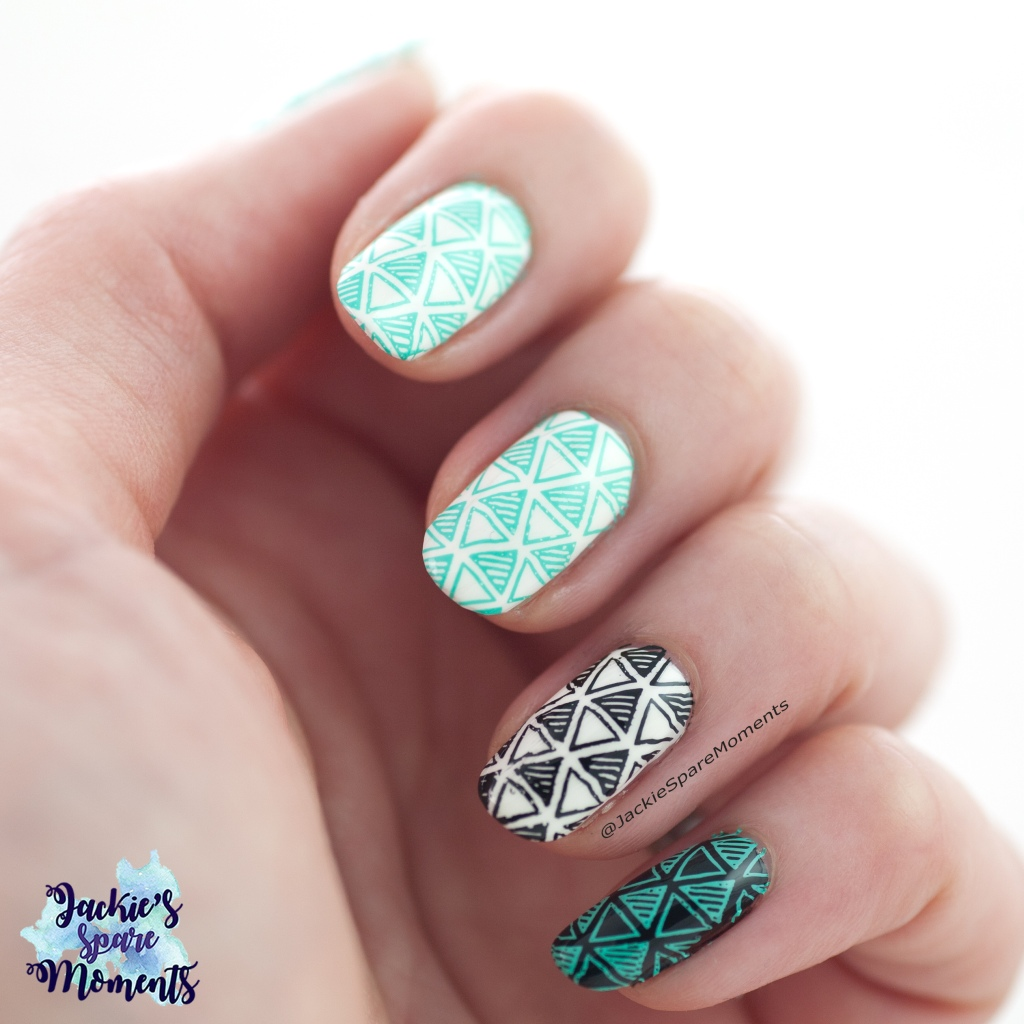 Abstract nail art in Black, White and Mint with Maniology plate BM-XL222 in collaboration with Nail by Miri