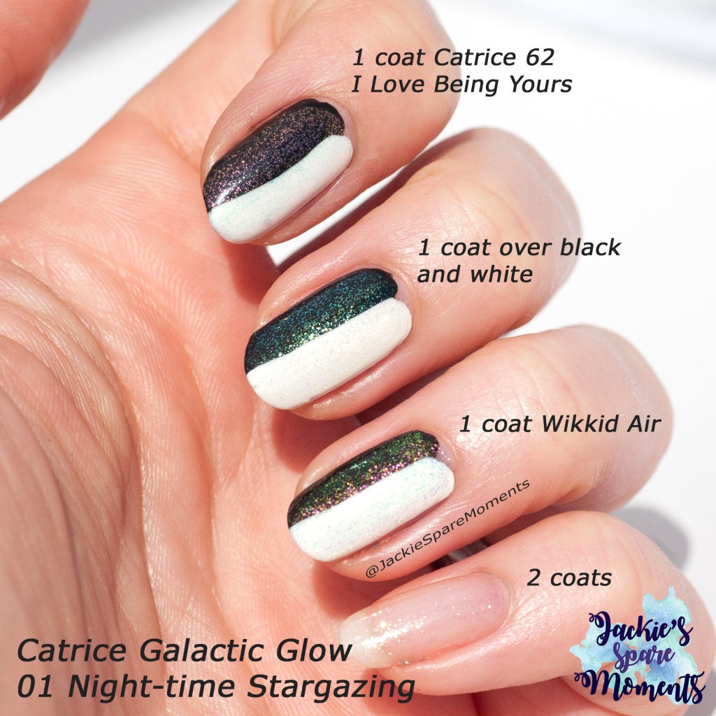 Comparison of Catrice Galactic Glow to Catrice I Love Being Yours and Wikkid Polish Air
