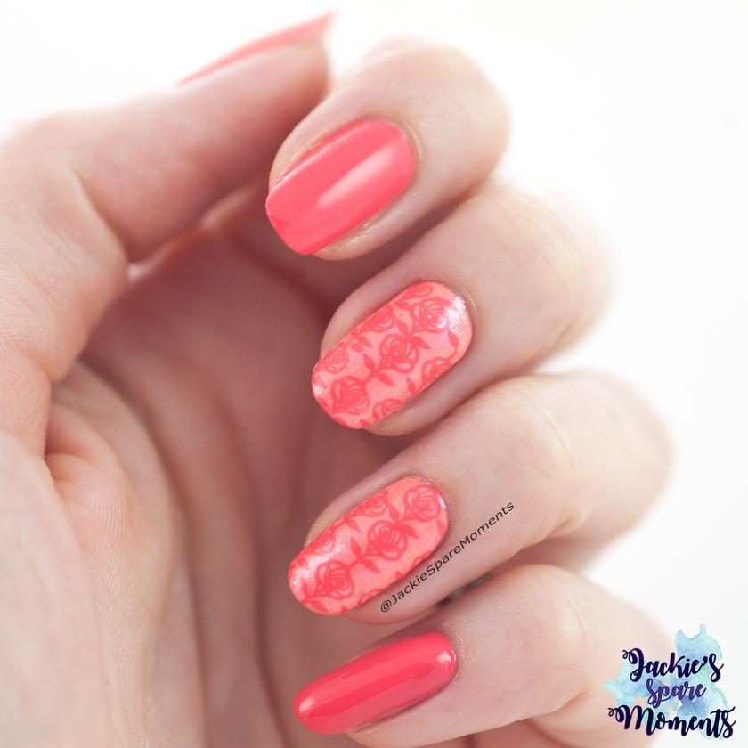 Coral Roses Nail Art