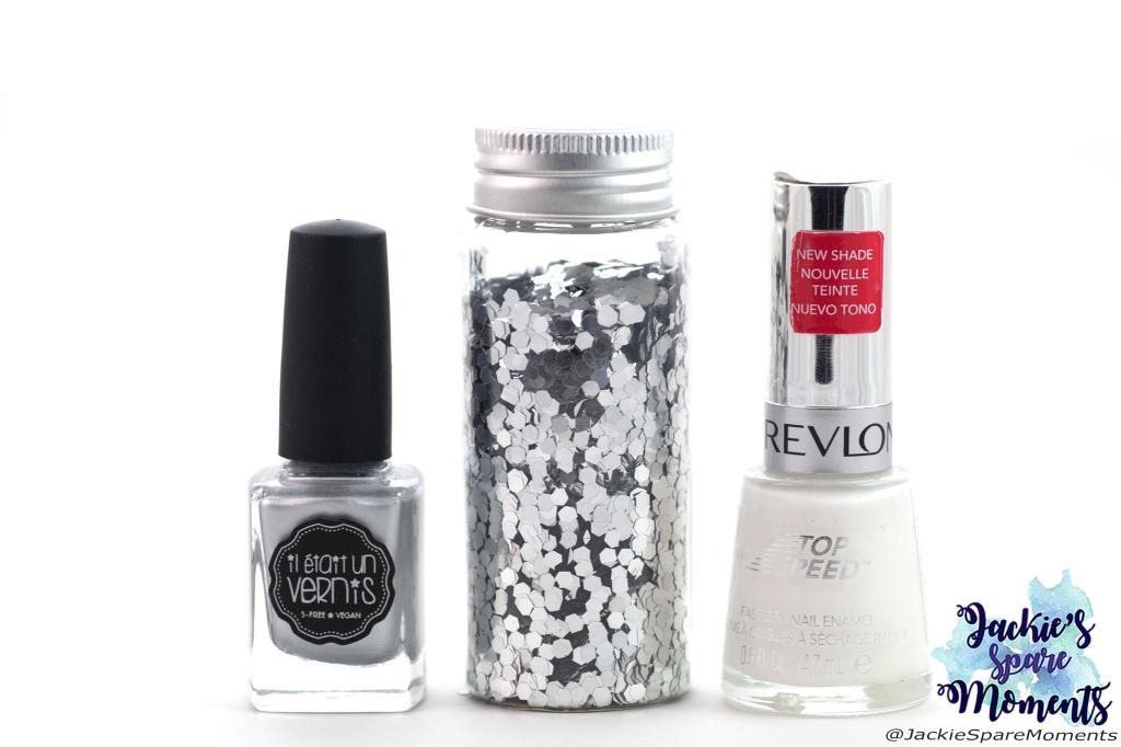 Materials used K3 mani: white nail polish Revlon 335 spirit, Silver glitter, silver nail polish Il etait un vernis 50% sparkly, 50% fairy dust