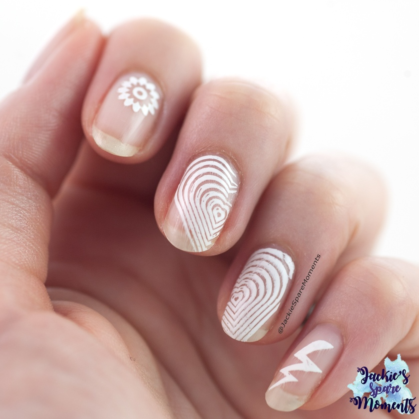 negative space nail art in white only
