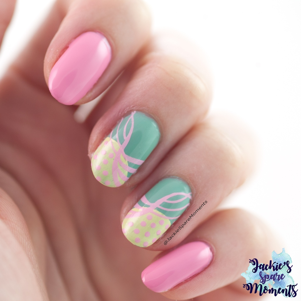 80s inspired mani in Turquoise, Yellow and Pink