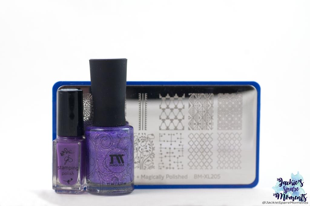 Materials used: CJS stamping polish 016, Masura Jacaranda Lace, Maniology stamping plate BM-XL205.