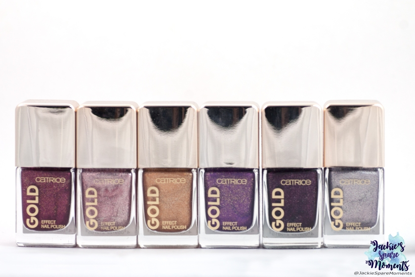 Six out of eight polishes Catrice Gold Effect Nail Polish