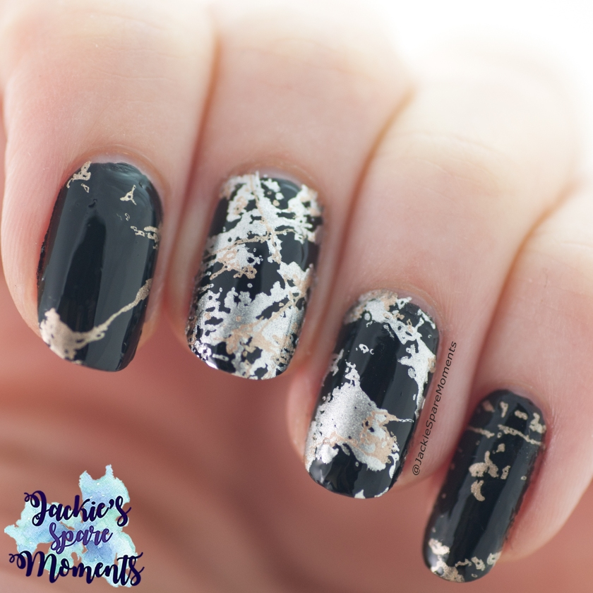 Black marble nail art made with stamping plate KADS Fashion 056