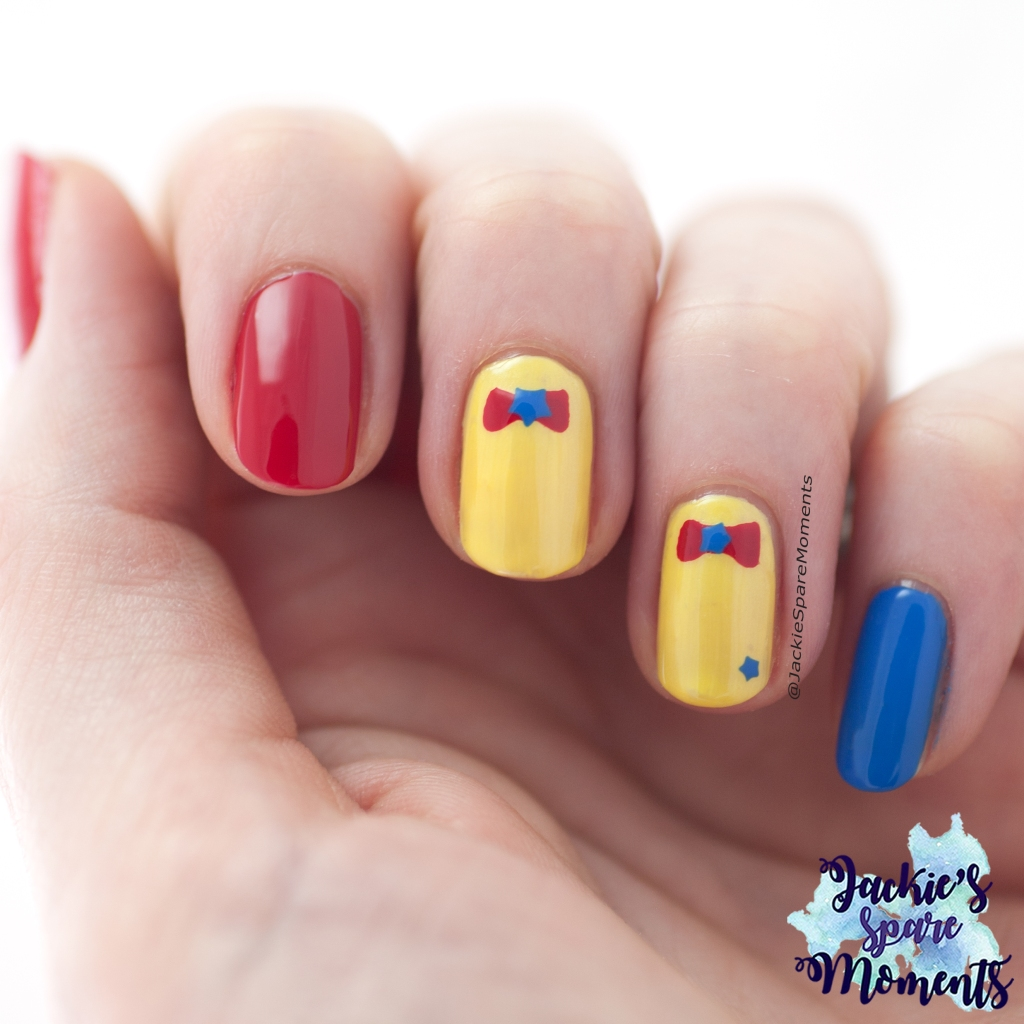 Circus nails nail art in Red, Yellow and Blue