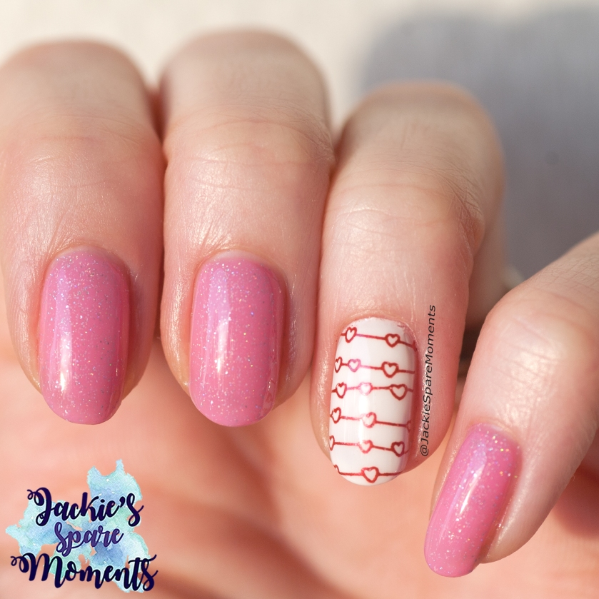 Valentine's Day nail art with ILNP Gumdrop, natural daylight
