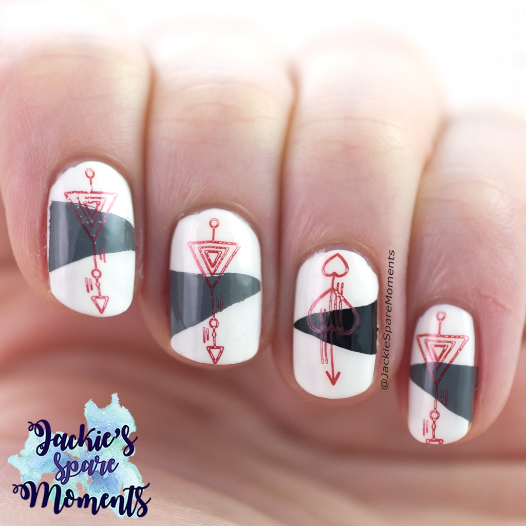 Abstract stamping nail art in White, Gray, Black and Red