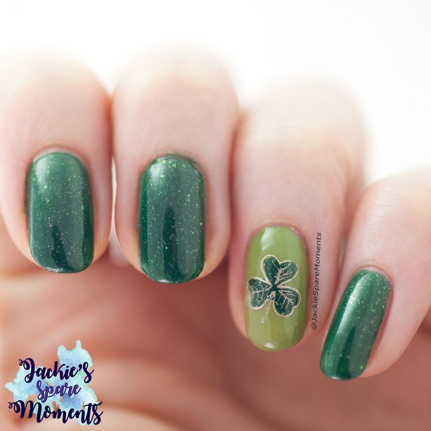 St Patrick's Day nail art with a clover