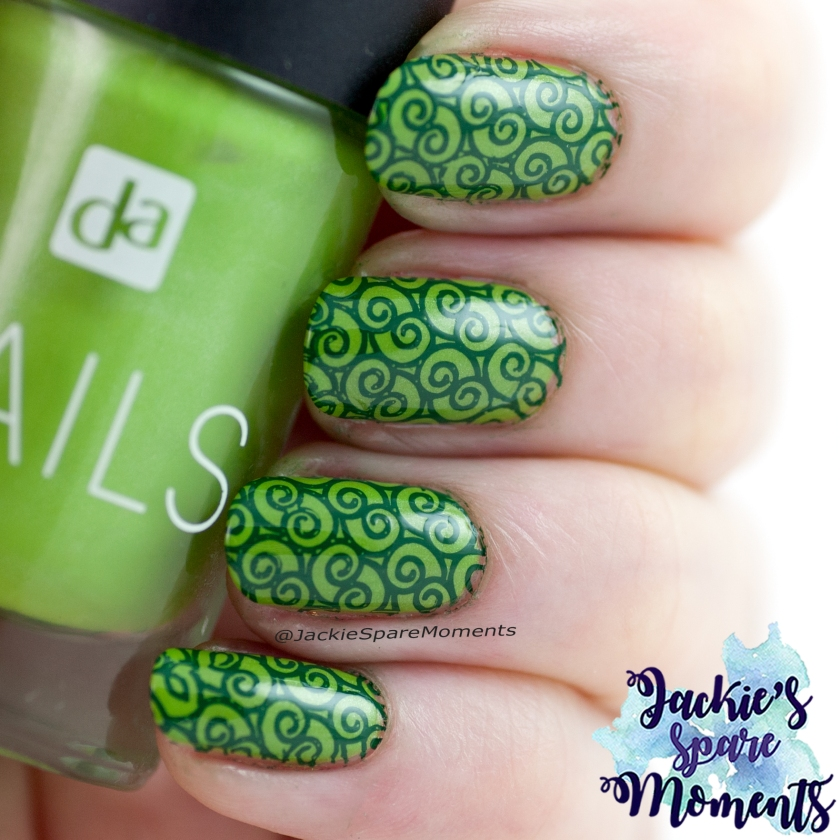 Green nails with green stamping, St. Patrick nail art