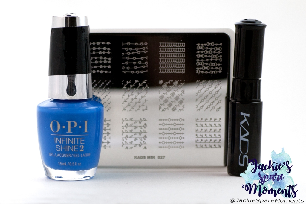 Materials used: OPI Tile Art To Warm Your Heart, KADS black stamping polish, KADS stamping plate MIN 029