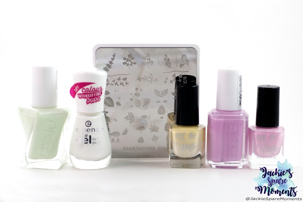 Materials used for floral pastel nail art: Essie Zip me up, Essence 33 wild white ways, Essie baguette me not, Hit the bottle stamping polish Lemon Meringue Fizz, Hit the bottle stamping polish Bubblegum Bliss