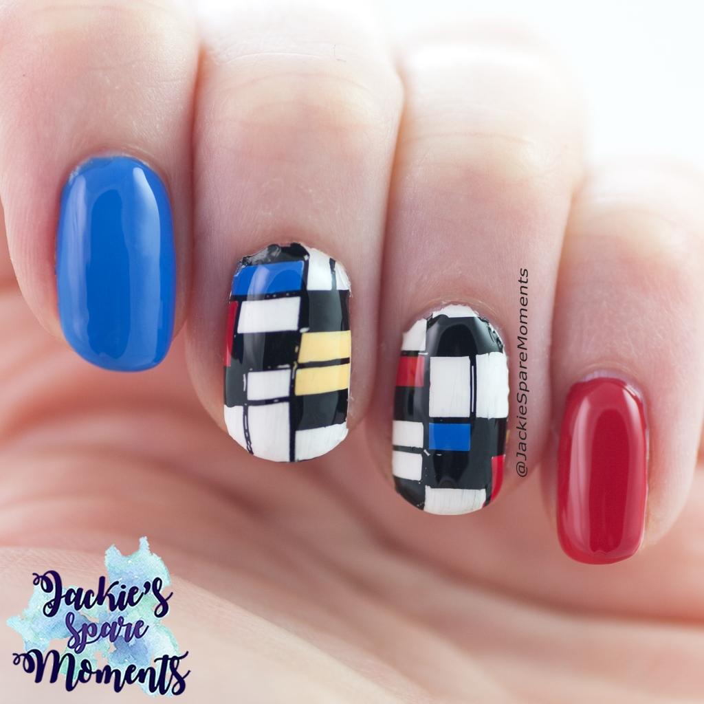 Piet Mondriaan nail art, stamping decals