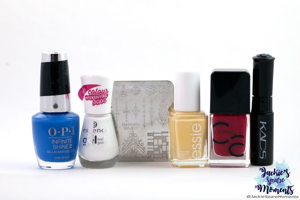 Materials used for Piet Mondriaan nail art: OPI Tile Art To Warm Your Heart, essence 33 wild white ways, Essie hay there, Catrice ICONails 02 Bloody Mary To Go, BornPretty stamping plate Geometry BP-X17, KADS black stamping polish