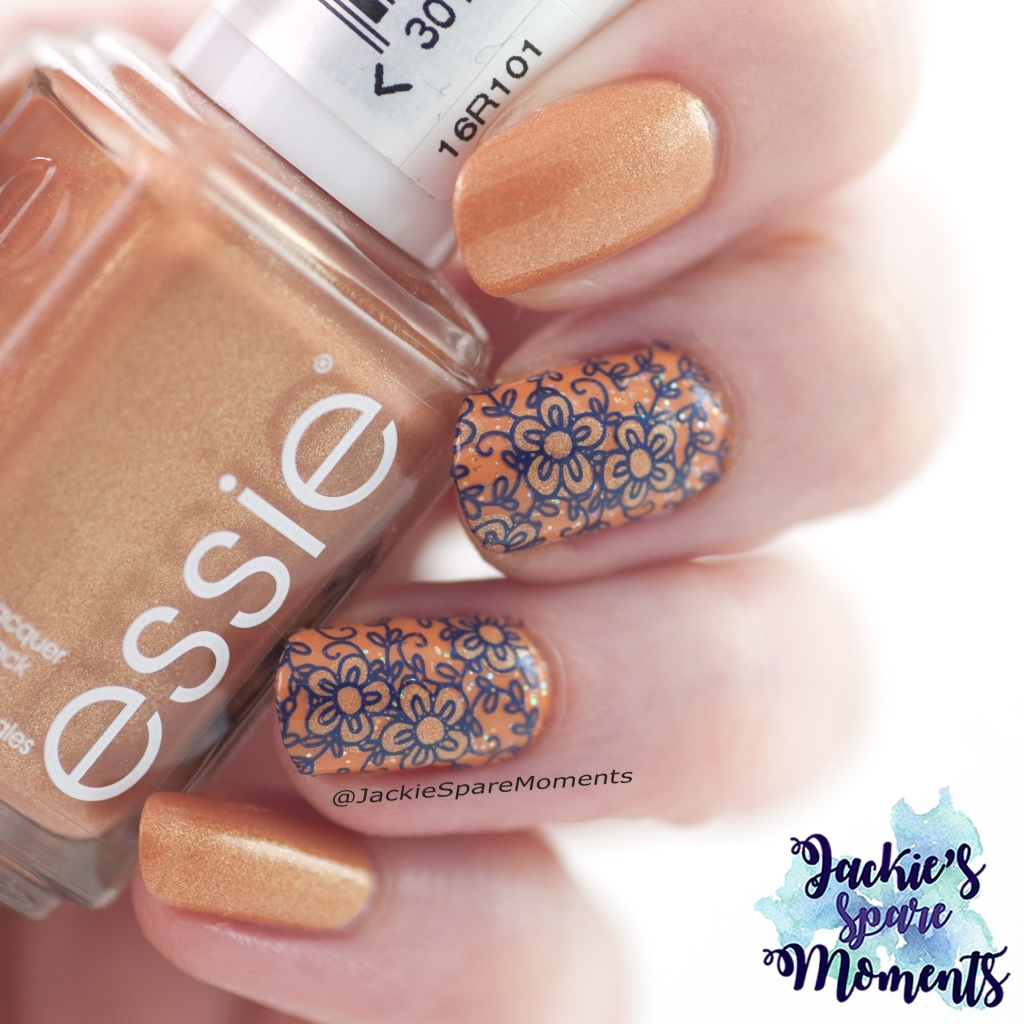 Floral mani with Essie sunny daze