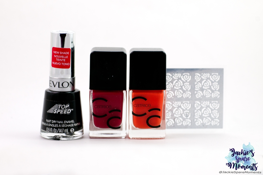 Materials used: Revlon Black Magic, Catrice ICONails 02 Bloody Mary To Go, Catrice ICONails 46 Work Hard, Play Orange, roses nail vinyls stencil stickers