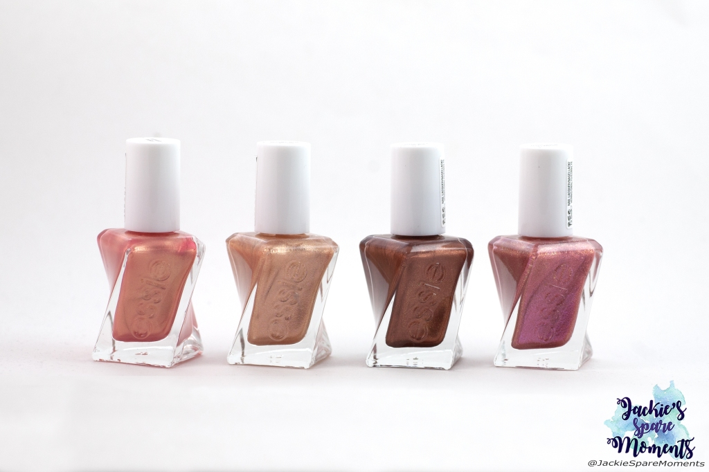 Essie Gel Couture sunrush metal, steel the show, sun day style, sequ in the know