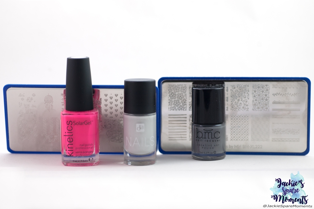 Kinetics Solar Gel nail polish KNP308 Raspberry Mojito, DA Nails 10 shades of grey, Maniology stamping polish storm cloud, Maniology stamping plates BM-XL216 and BM-XL222