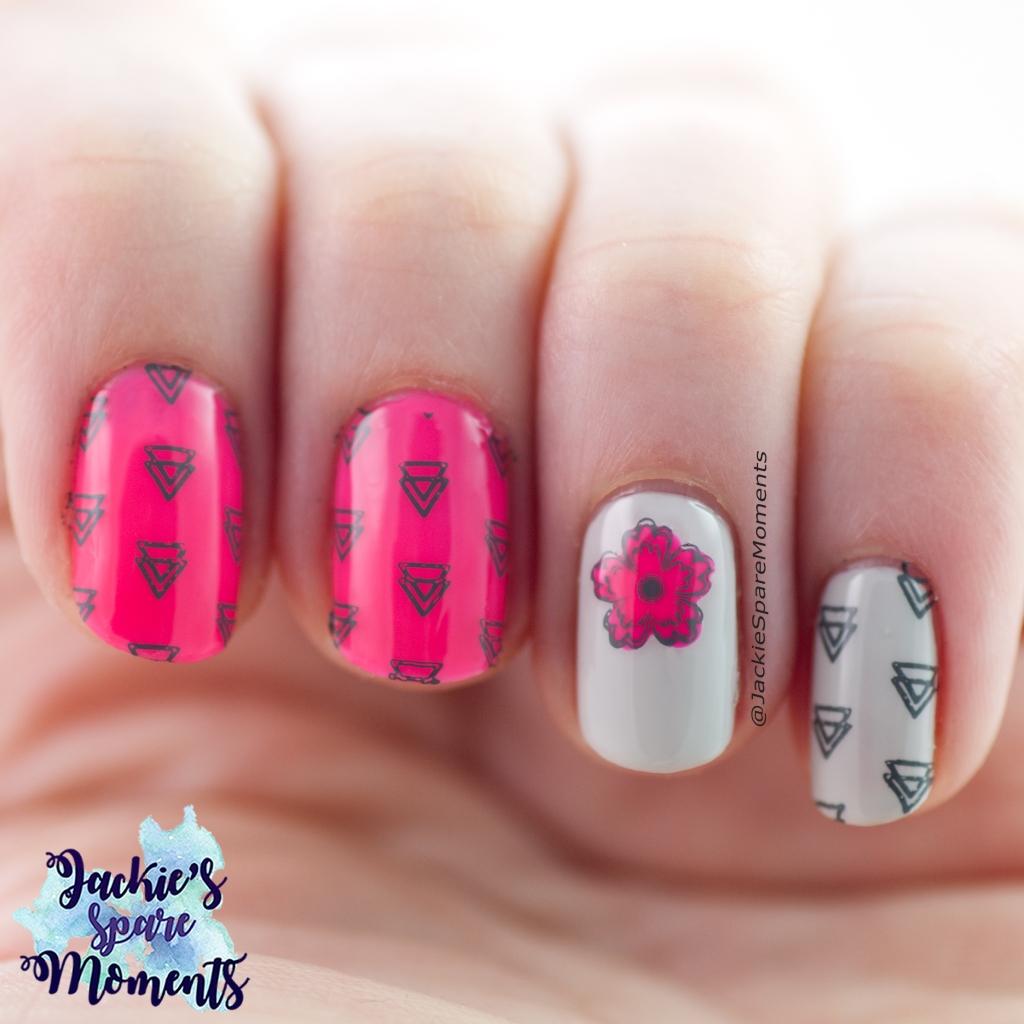 Neon pink and grey nail art