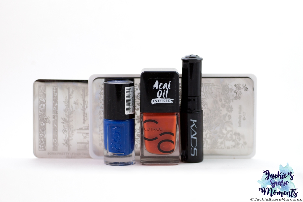Materials used: Etos nail polish 44 Marrakech, Catrice ICONails 83 Orange Is The New Black, KADS stamping polish black, BornPretty stamping plate Flower Tango S001, Dashica Infinity Nails stamping plate 17