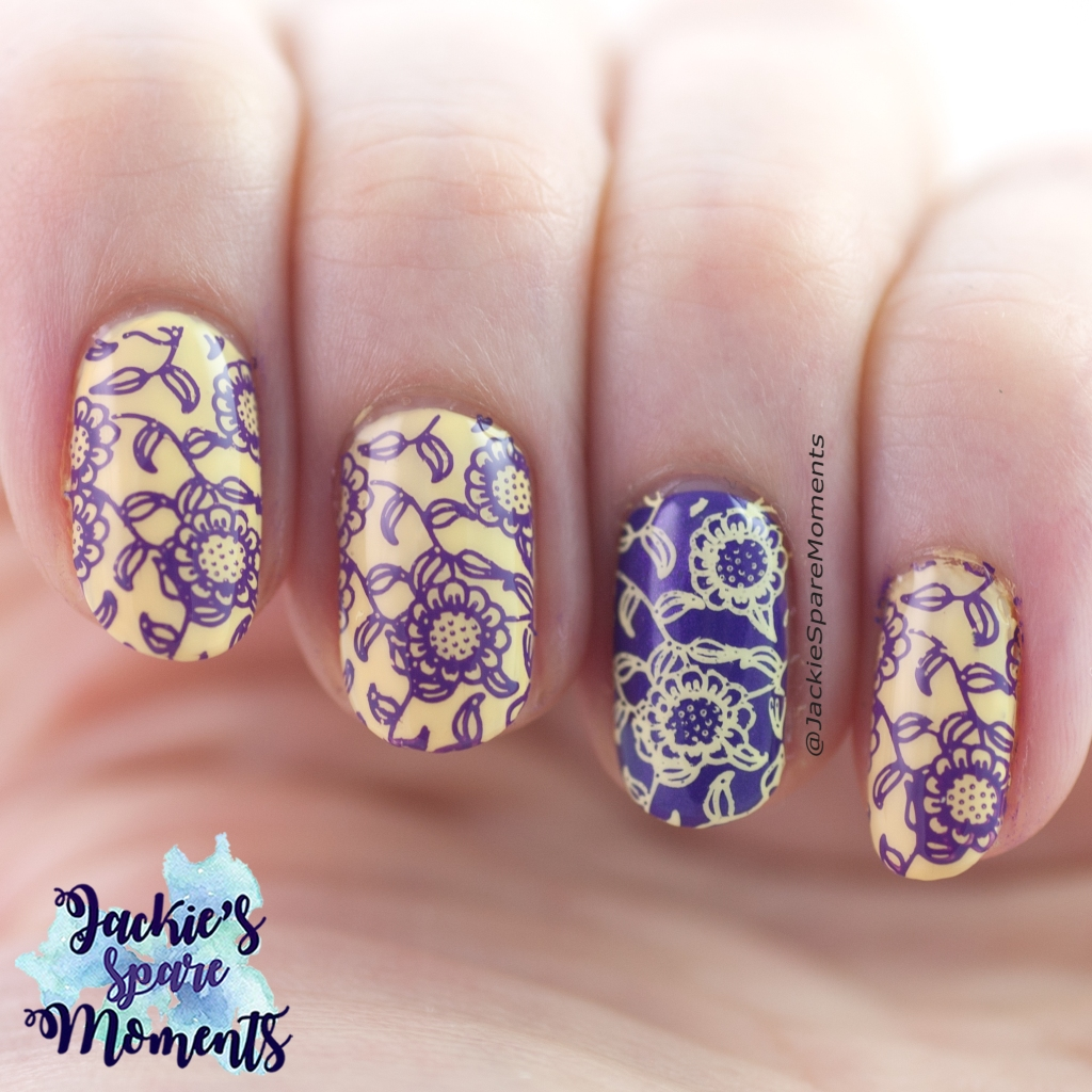 Yellow and purple floral stamping nail art