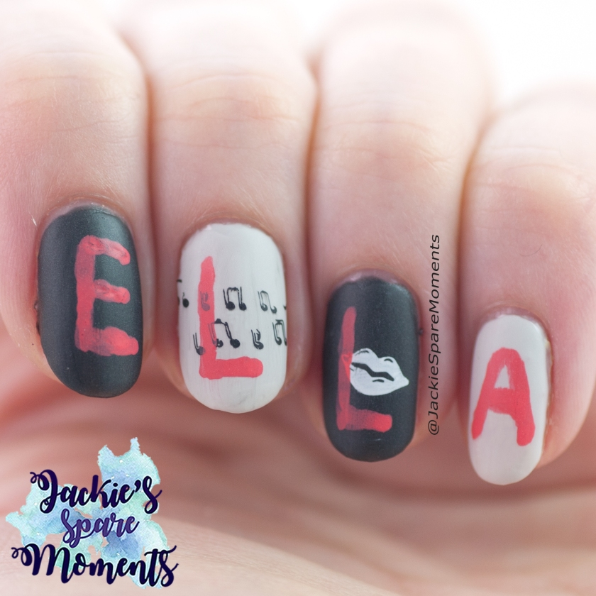 Nail art depicting the song Ella elle l'a by France Gall