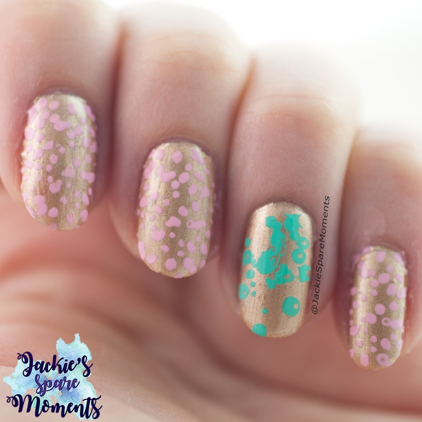 Stamping nail art in Gold, Pastel Pink and Mint