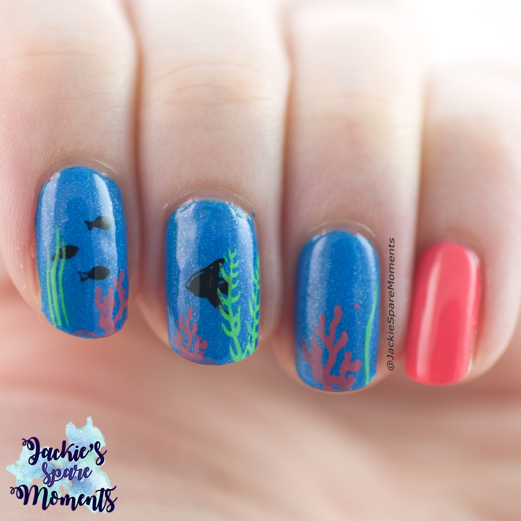 Tropical fish mani in bright neon colours
