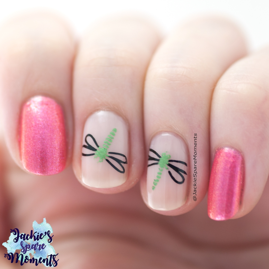 Dragonfly nail art using OPI I Can't Hear Myself Pink and Catrice More Than Nude 06 Roses Are Rosy