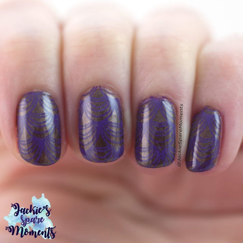 Stamping nail art in brown and purple