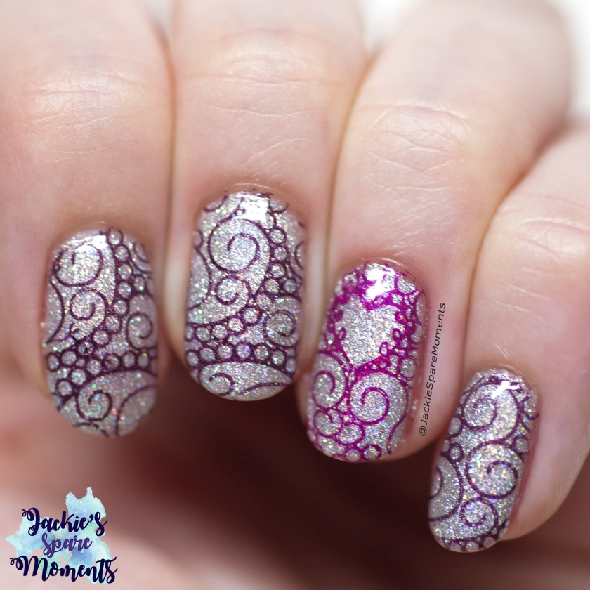 holographic stamping nail art