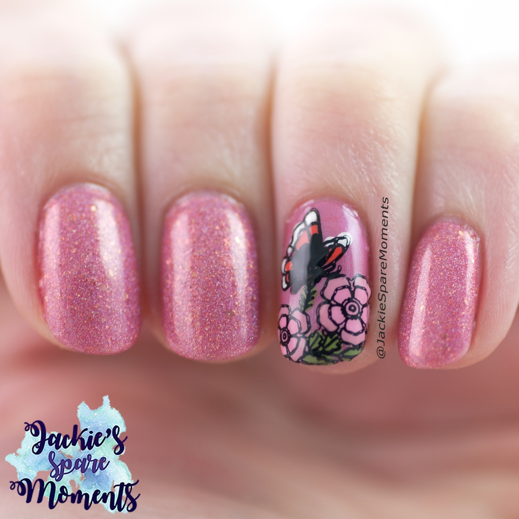 Butterfly nail art inspired by red admiral butterfly on hydrangea bush