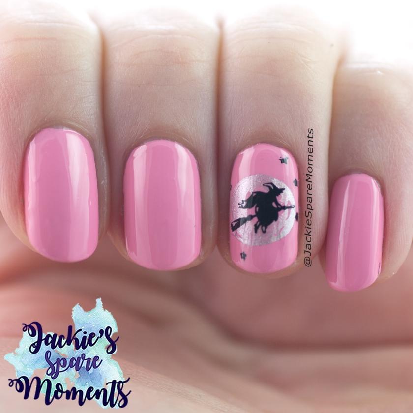 Pink Halloween nail art