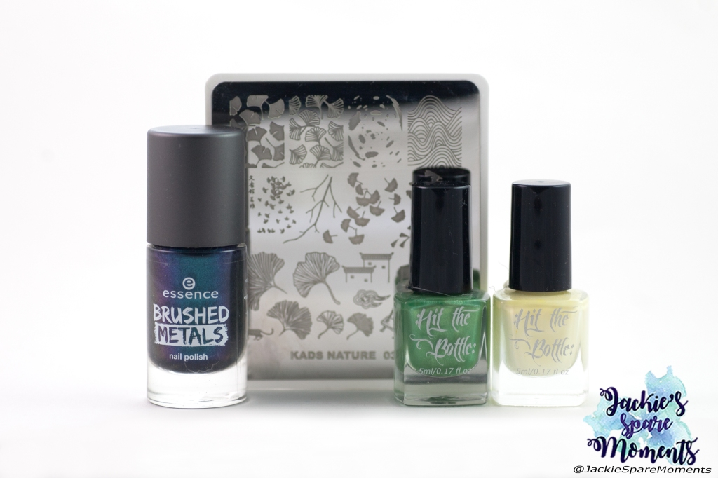 Materials used: essence brushed metals 05 I'm cool with it, Hit the bottle stamping polishes Lemon Meringue Fizz and Cactus Juice, KADS nature stamping plate 037