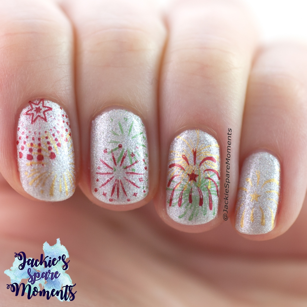 New Year's fireworks nail art