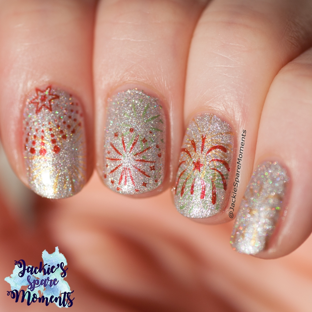 New Year's fireworks nail art, direct sunlight showing the holo