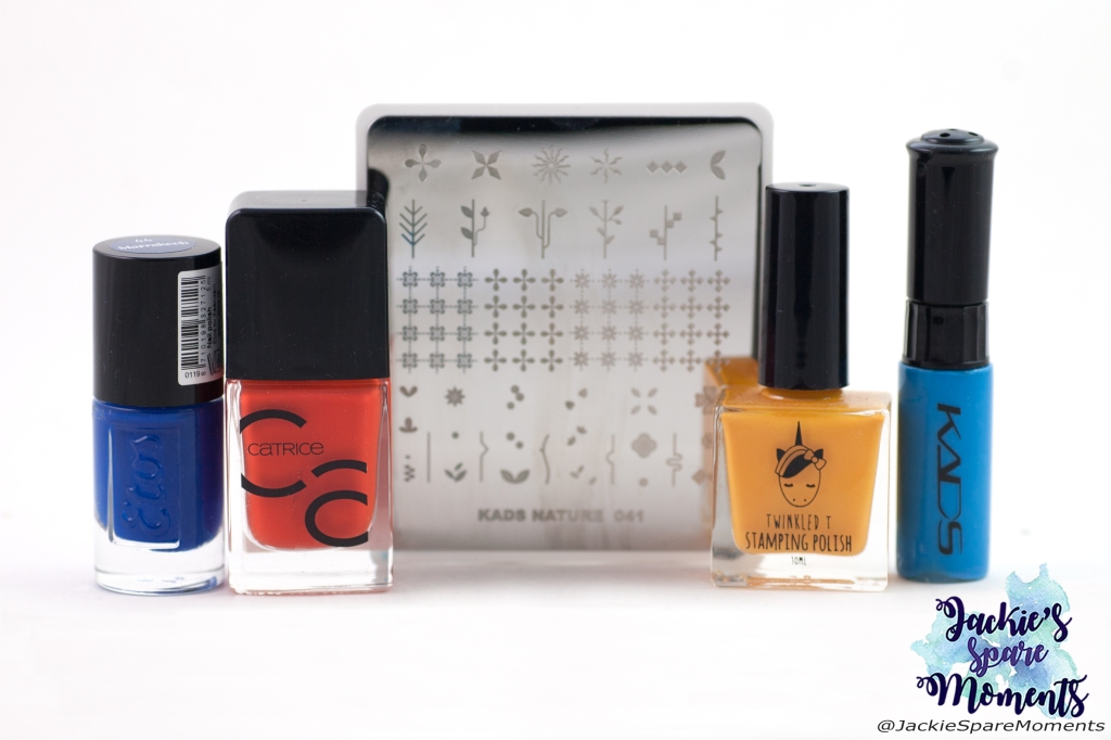 Materials used: Etos Marrakech, Catrice 46 Work Hard, Play Orange, Twinkled T stamping polish Saucey, KADS stamping polish 030, KADS Nature 041