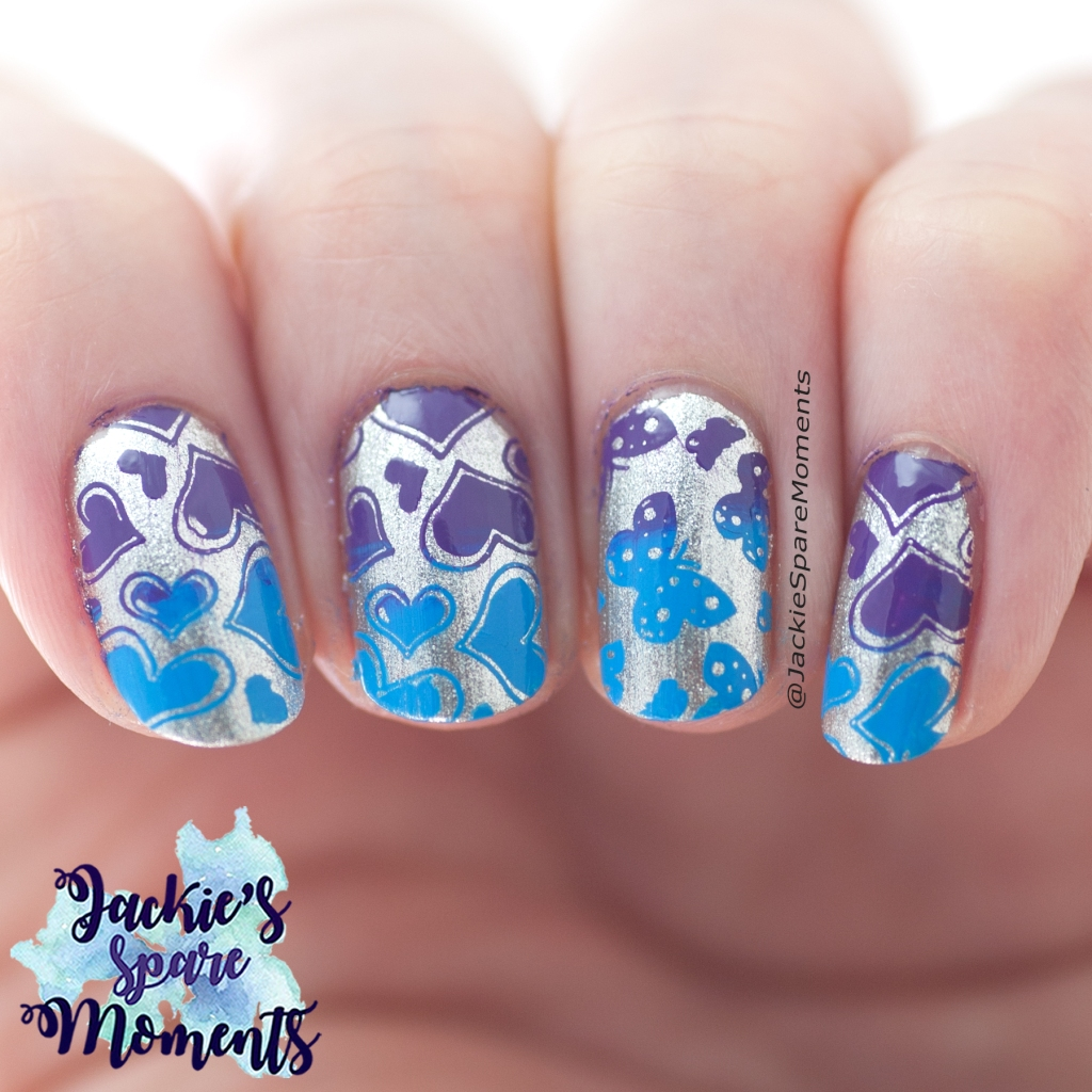 Valentine's stamping nail art in blue and purple on silver