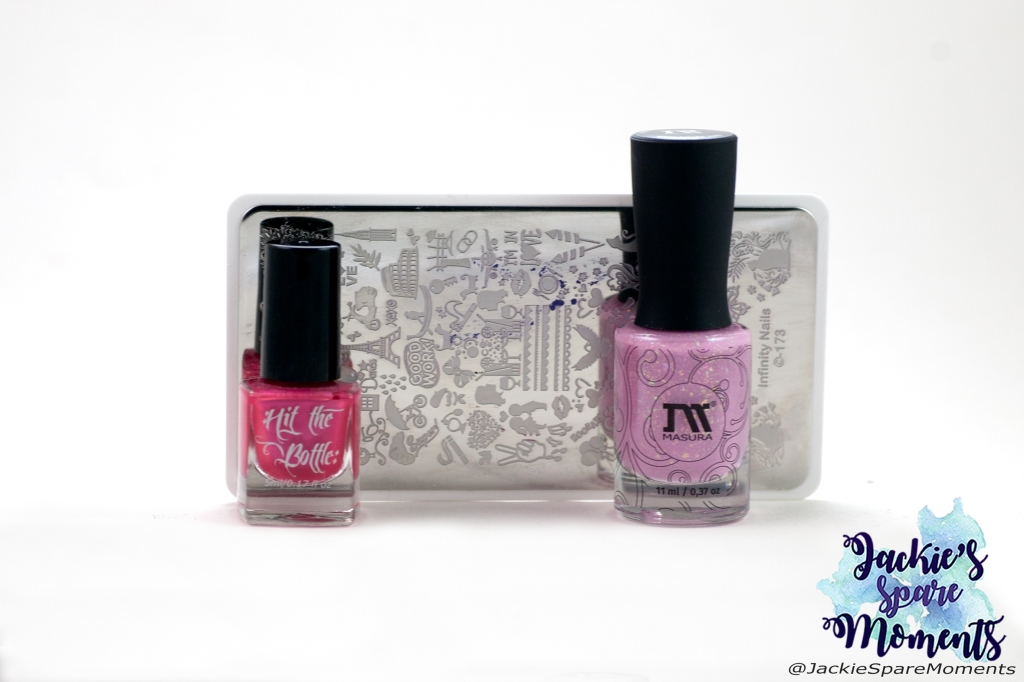 Masura Cotton Candy, Hit the bottle stamping polish Psycho pink, Dashica Infinity Nails stamping plate 173