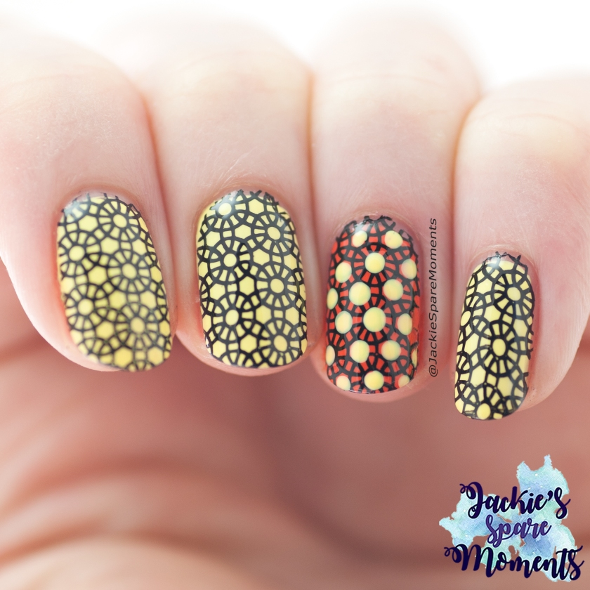 Abstract nail art, nail stamping in Yellow, Orange and Black