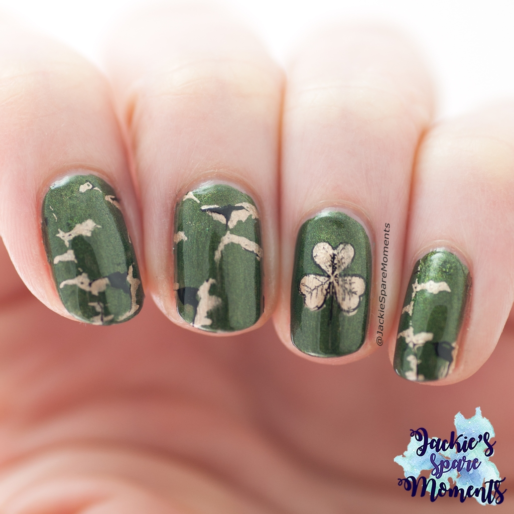 St Patrick's Day nail art with green marble nails