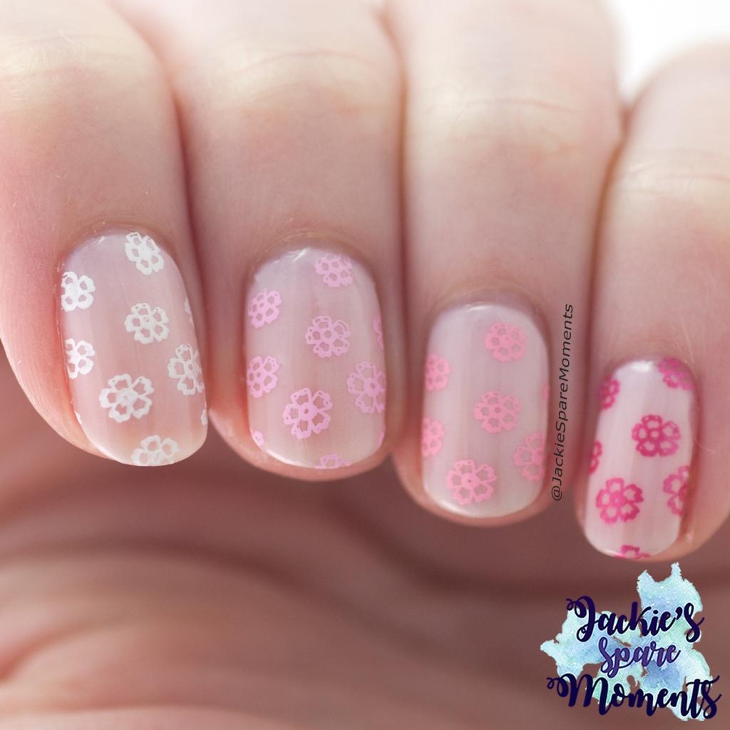 Gradient stamping, light pink spring nail art.