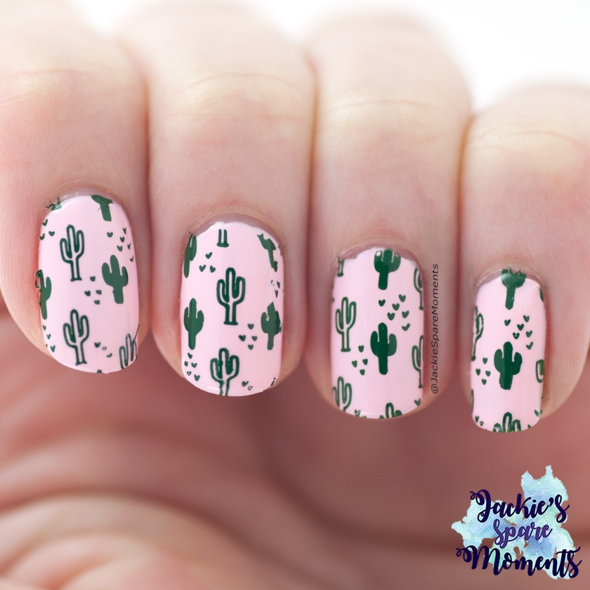 Pink cactus nail art